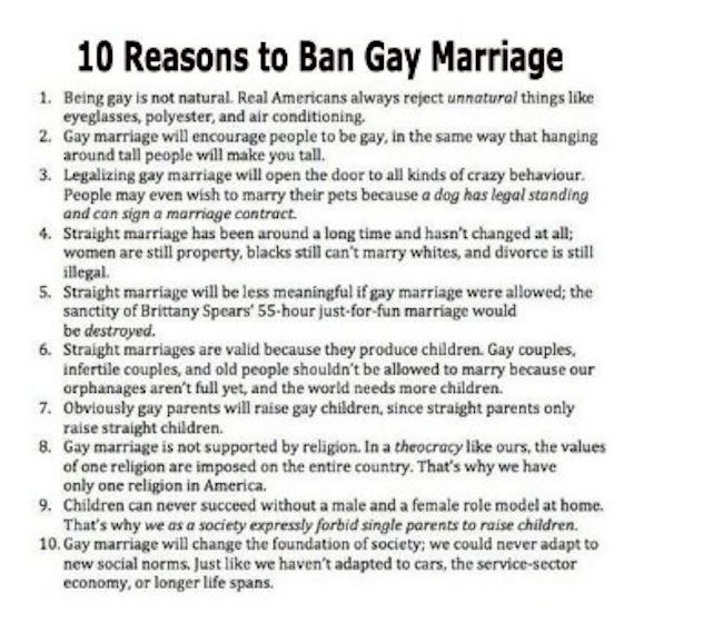 why Ban gay marriage